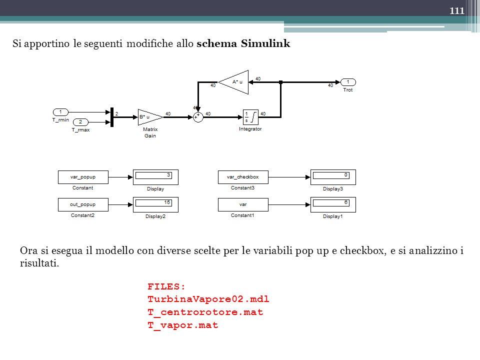 111 Si apportino le seguenti modifiche allo schema Simulink Ora si esegua il modello con diverse scelte per le variabili pop up e checkbox, e si anali