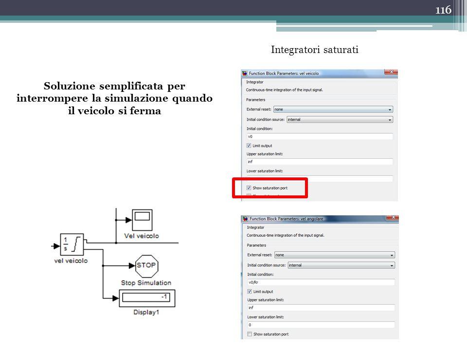 116 Soluzione semplificata per interrompere la simulazione quando il veicolo si ferma Integratori saturati