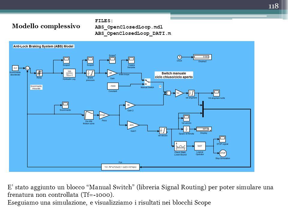 """118 Modello complessivo E' stato aggiunto un blocco """"Manual Switch"""" (libreria Signal Routing) per poter simulare una frenatura non controllata (Tf=-10"""
