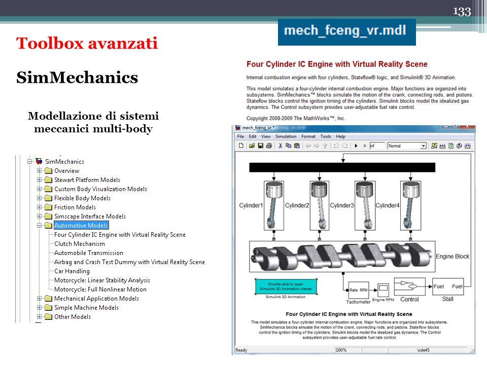 133 SimMechanics Modellazione di sistemi meccanici multi-body Toolbox avanzati