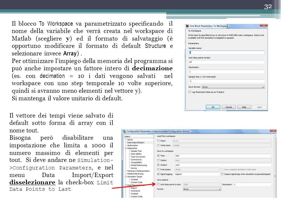 32 Il blocco To Workspace va parametrizzato specificando il nome della variabile che verrà creata nel workspace di Matlab (scegliere y) ed il formato