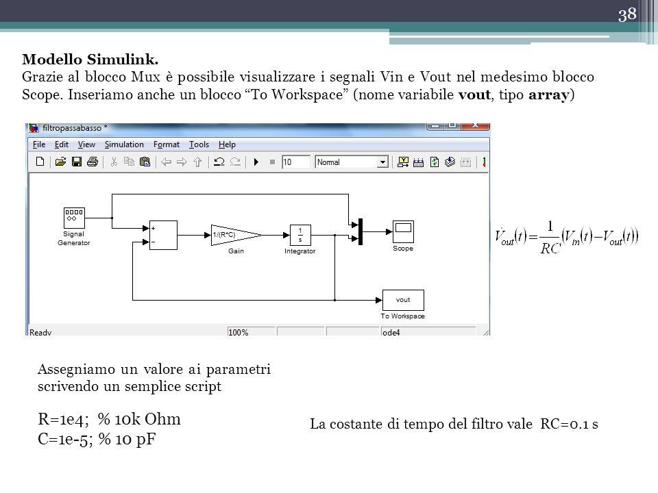 """38 Modello Simulink. Grazie al blocco Mux è possibile visualizzare i segnali Vin e Vout nel medesimo blocco Scope. Inseriamo anche un blocco """"To Works"""