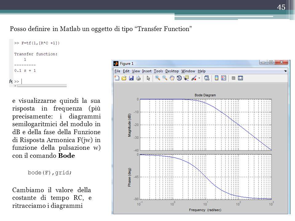 """45 Posso definire in Matlab un oggetto di tipo """"Transfer Function"""" e visualizzarne quindi la sua risposta in frequenza (più precisamente: i diagrammi"""