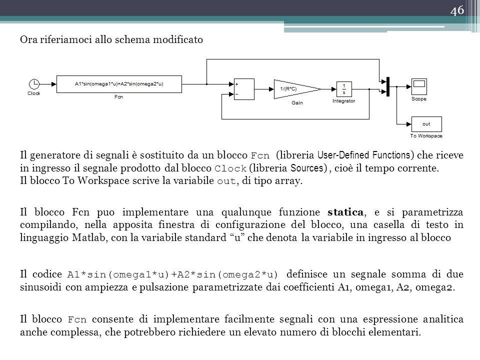 46 Ora riferiamoci allo schema modificato Il generatore di segnali è sostituito da un blocco Fcn (libreria User-Defined Functions ) che riceve in ingr