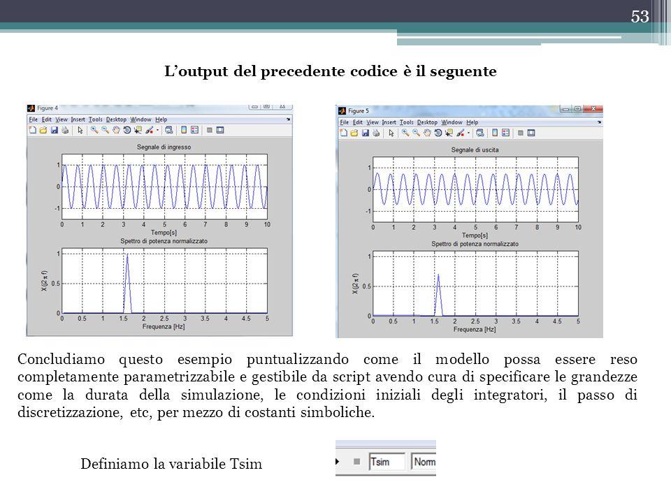 53 L'output del precedente codice è il seguente Concludiamo questo esempio puntualizzando come il modello possa essere reso completamente parametrizza