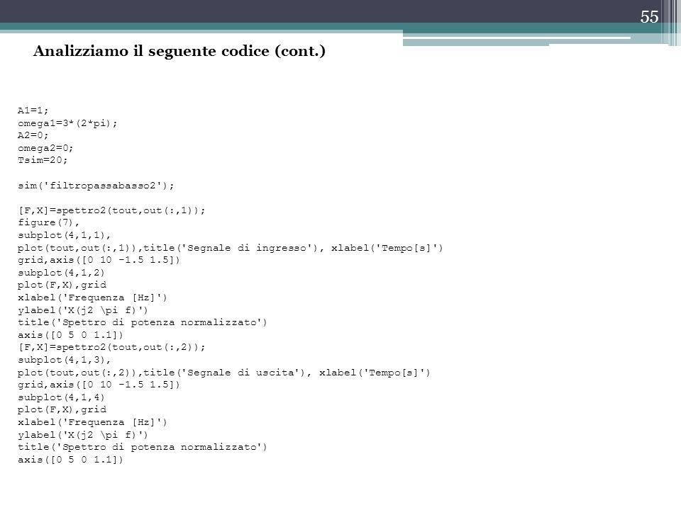 55 A1=1; omega1=3*(2*pi); A2=0; omega2=0; Tsim=20; sim('filtropassabasso2'); [F,X]=spettro2(tout,out(:,1)); figure(7), subplot(4,1,1), plot(tout,out(: