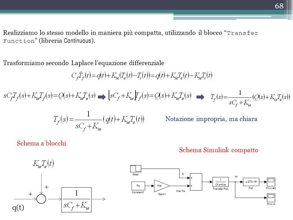 """68 Realizziamo lo stesso modello in maniera più compatta, utilizzando il blocco """" Transfer Function """" (libreria Continuous ). Notazione impropria, ma"""