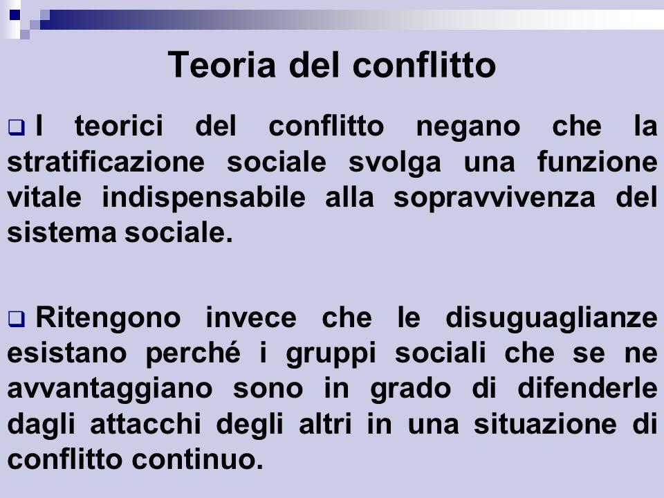 Teoria del conflitto  I teorici del conflitto negano che la stratificazione sociale svolga una funzione vitale indispensabile alla sopravvivenza del sistema sociale.