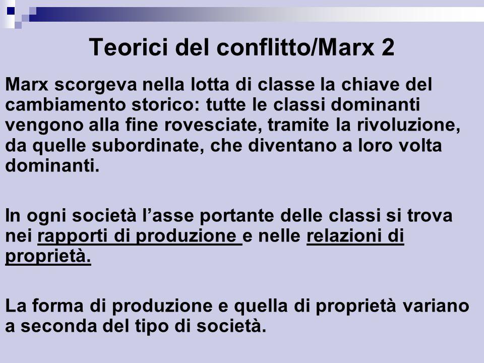 Teorici del conflitto/Marx 2 Marx scorgeva nella lotta di classe la chiave del cambiamento storico: tutte le classi dominanti vengono alla fine rovesciate, tramite la rivoluzione, da quelle subordinate, che diventano a loro volta dominanti.