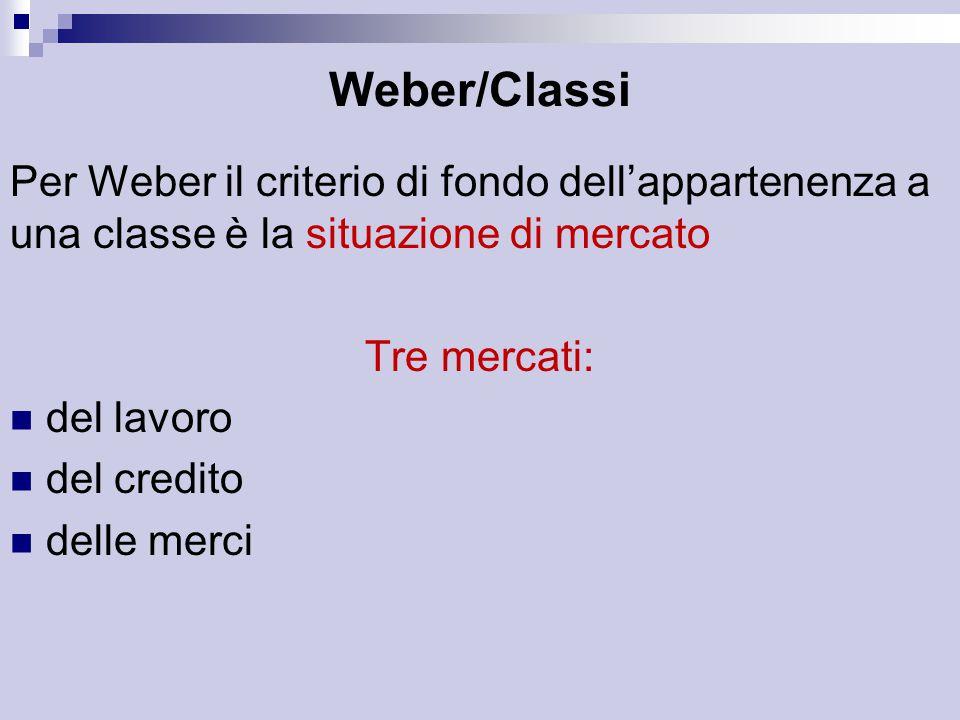 Weber/Classi Per Weber il criterio di fondo dell'appartenenza a una classe è la situazione di mercato Tre mercati: del lavoro del credito delle merci