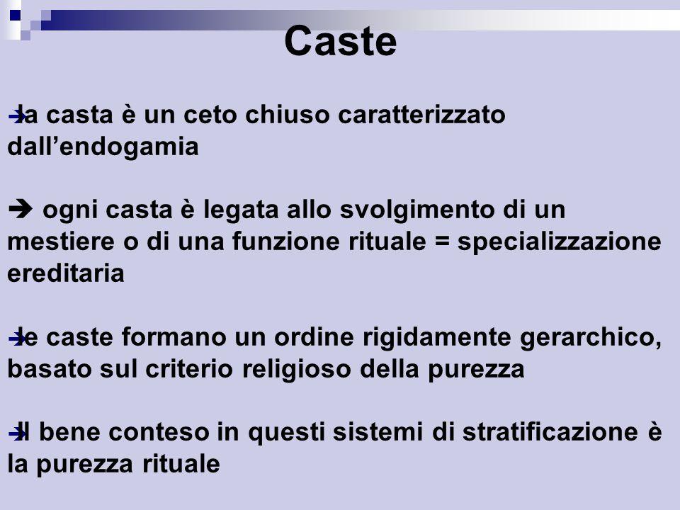 Caste  la casta è un ceto chiuso caratterizzato dall'endogamia  ogni casta è legata allo svolgimento di un mestiere o di una funzione rituale = specializzazione ereditaria  le caste formano un ordine rigidamente gerarchico, basato sul criterio religioso della purezza  Il bene conteso in questi sistemi di stratificazione è la purezza rituale