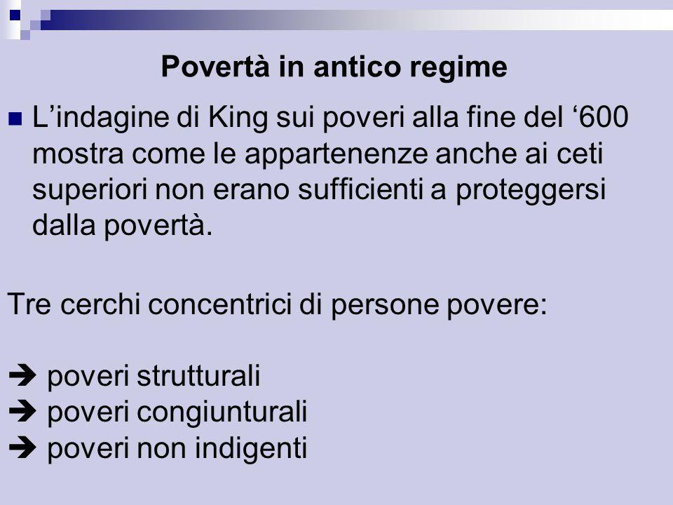 Povertà in antico regime L'indagine di King sui poveri alla fine del '600 mostra come le appartenenze anche ai ceti superiori non erano sufficienti a proteggersi dalla povertà.