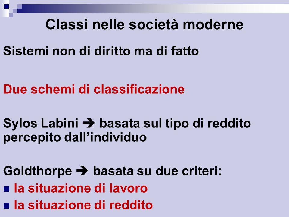 Classi nelle società moderne Sistemi non di diritto ma di fatto Due schemi di classificazione Sylos Labini  basata sul tipo di reddito percepito dall'individuo Goldthorpe  basata su due criteri: la situazione di lavoro la situazione di reddito