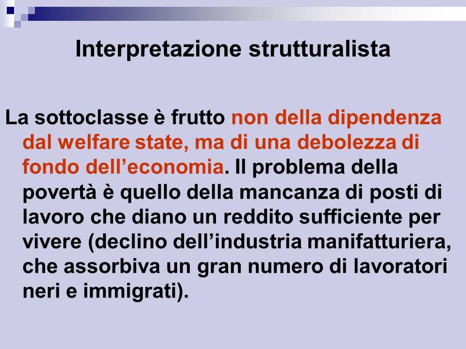 Interpretazione strutturalista La sottoclasse è frutto non della dipendenza dal welfare state, ma di una debolezza di fondo dell'economia.
