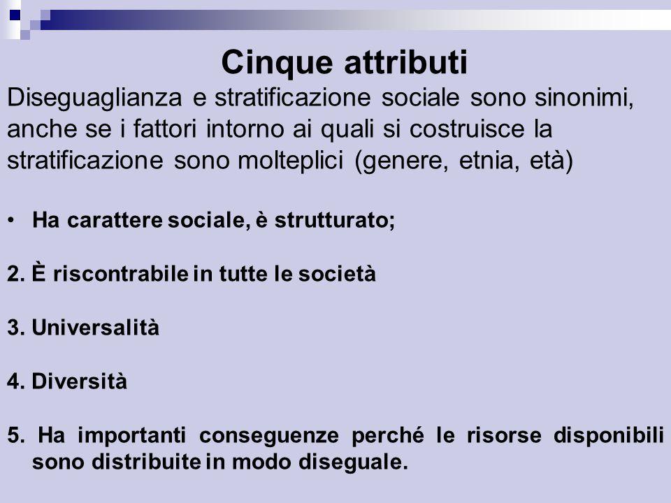 Cinque attributi Diseguaglianza e stratificazione sociale sono sinonimi, anche se i fattori intorno ai quali si costruisce la stratificazione sono molteplici (genere, etnia, età) Ha carattere sociale, è strutturato; 2.