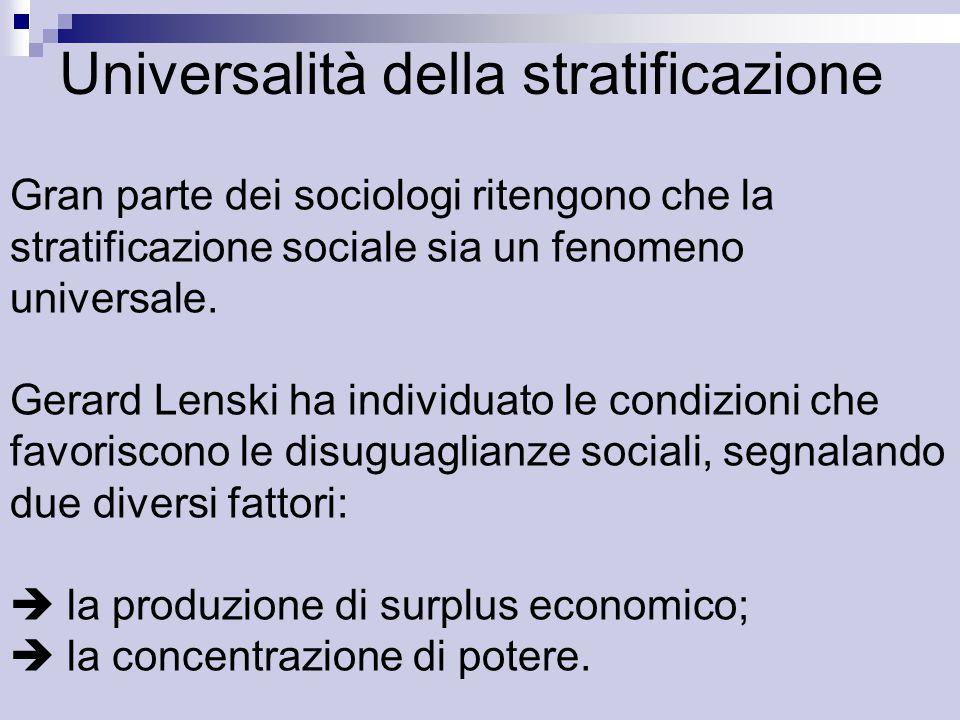 Universalità della stratificazione Gran parte dei sociologi ritengono che la stratificazione sociale sia un fenomeno universale.