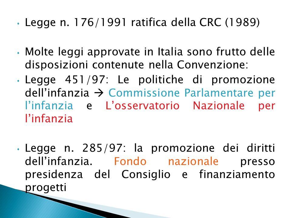Legge n. 176/1991 ratifica della CRC (1989) Molte leggi approvate in Italia sono frutto delle disposizioni contenute nella Convenzione: Legge 451/97: