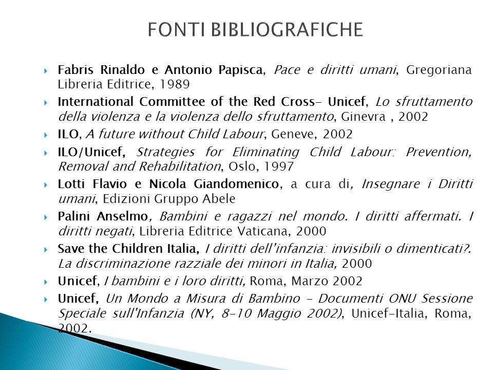  Fabris Rinaldo e Antonio Papisca, Pace e diritti umani, Gregoriana Libreria Editrice, 1989  International Committee of the Red Cross- Unicef, Lo sf