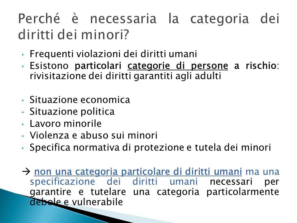 Frequenti violazioni dei diritti umani Esistono particolari categorie di persone a rischio: rivisitazione dei diritti garantiti agli adulti Situazione