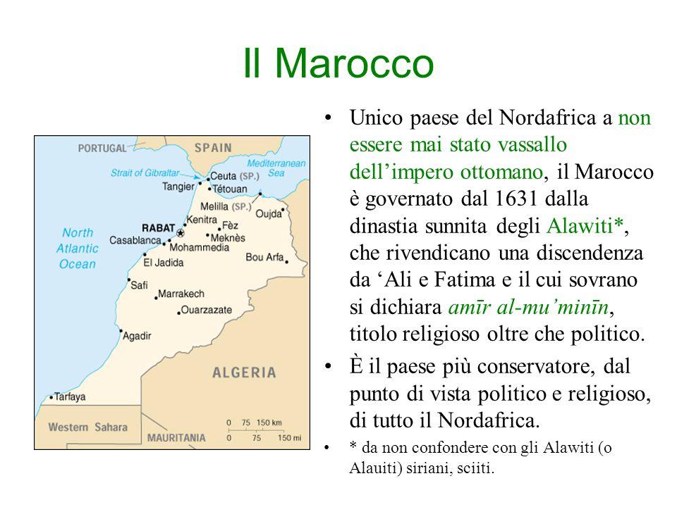 Il Marocco Unico paese del Nordafrica a non essere mai stato vassallo dell'impero ottomano, il Marocco è governato dal 1631 dalla dinastia sunnita degli Alawiti*, che rivendicano una discendenza da 'Ali e Fatima e il cui sovrano si dichiara amīr al-mu'minīn, titolo religioso oltre che politico.