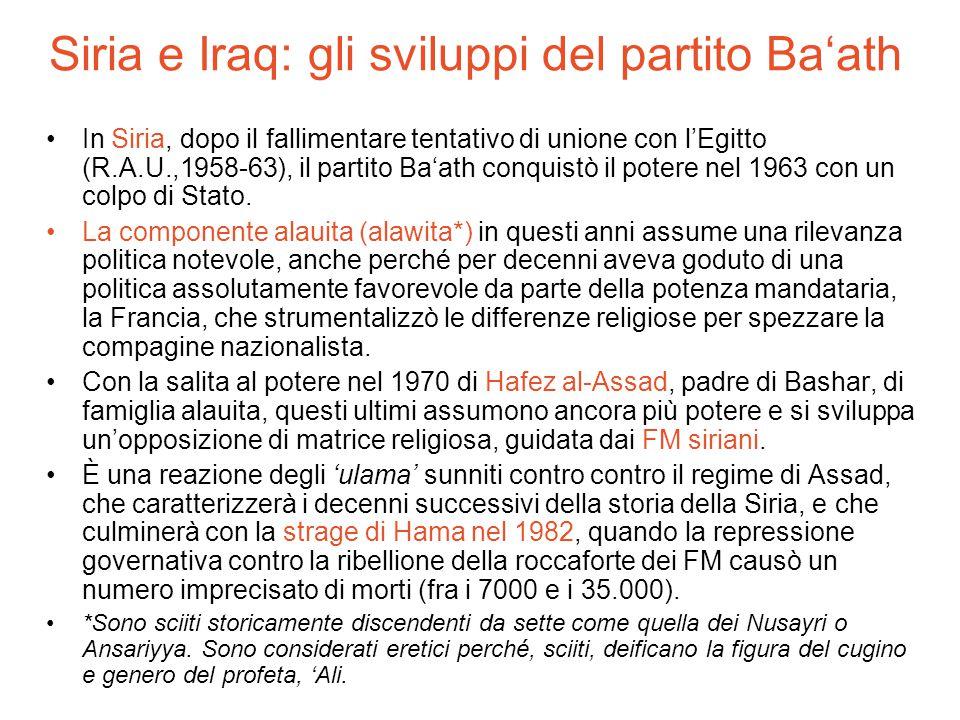 Siria e Iraq: gli sviluppi del partito Ba'ath In Siria, dopo il fallimentare tentativo di unione con l'Egitto (R.A.U.,1958-63), il partito Ba'ath conq