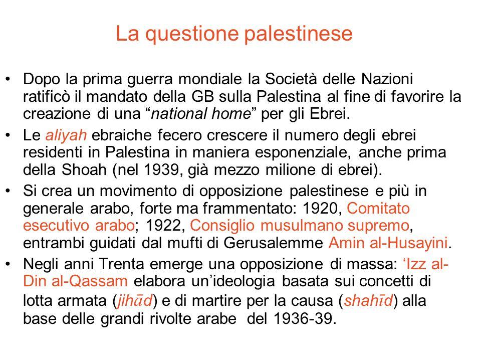 La questione palestinese Dopo la prima guerra mondiale la Società delle Nazioni ratificò il mandato della GB sulla Palestina al fine di favorire la cr