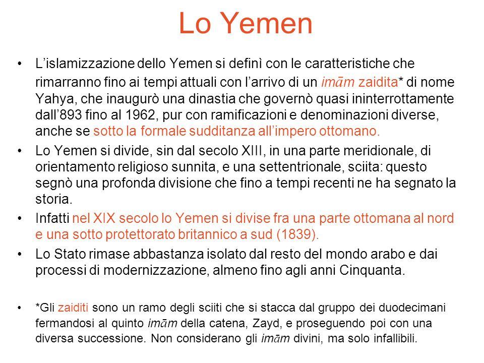 L'islamizzazione dello Yemen si definì con le caratteristiche che rimarranno fino ai tempi attuali con l'arrivo di un im ā m zaidita* di nome Yahya, c