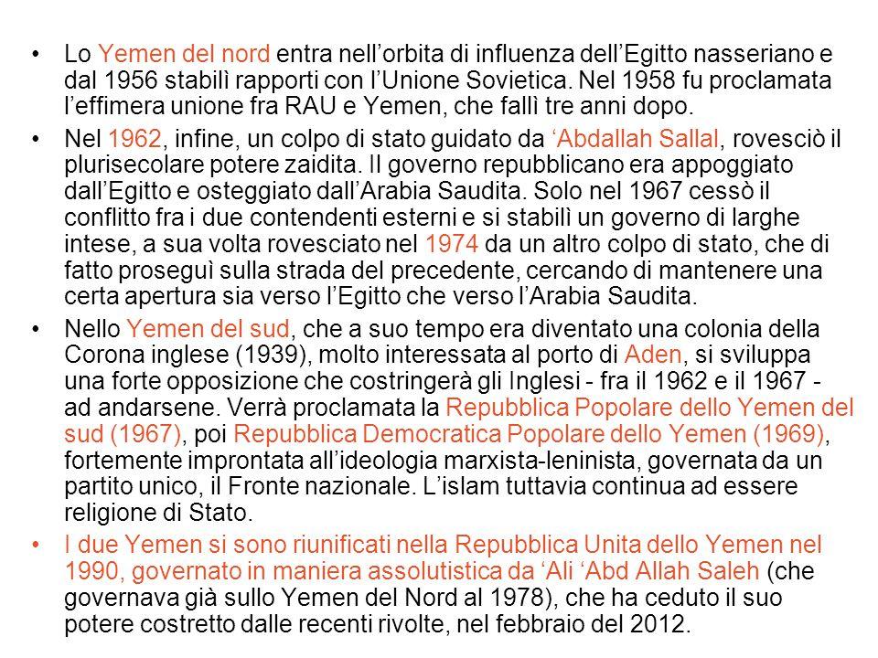 Lo Yemen del nord entra nell'orbita di influenza dell'Egitto nasseriano e dal 1956 stabilì rapporti con l'Unione Sovietica. Nel 1958 fu proclamata l'e