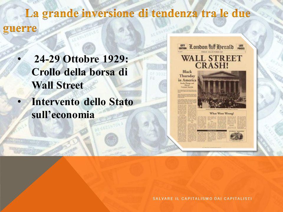 24-29 Ottobre 1929: Crollo della borsa di Wall Street Intervento dello Stato sull'economia SALVARE IL CAPITALISMO DAI CAPITALISTI