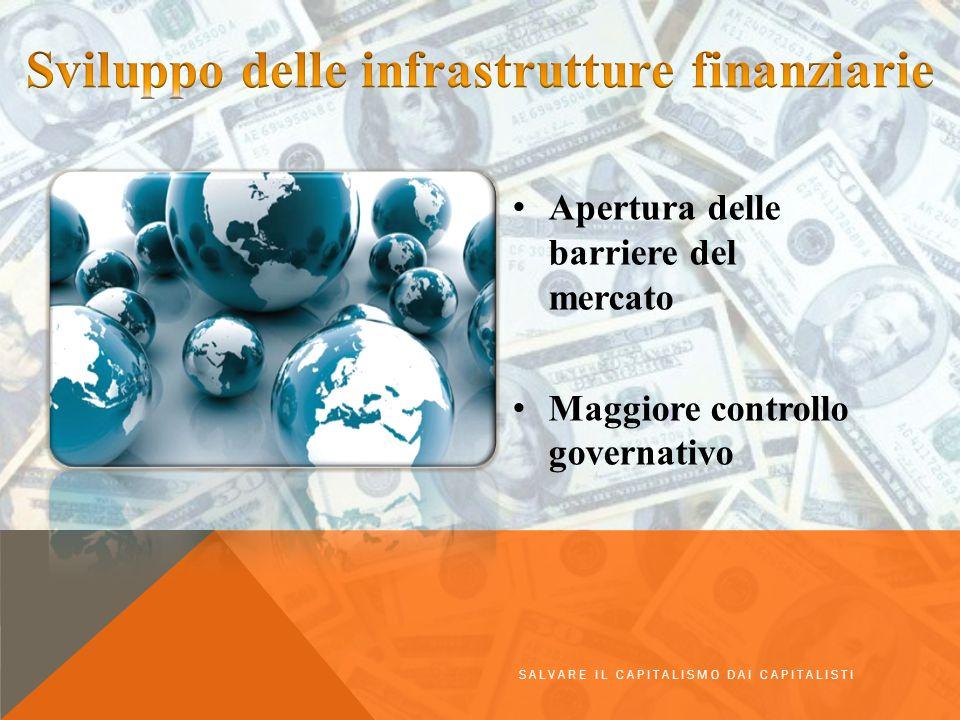 Apertura delle barriere del mercato Maggiore controllo governativo SALVARE IL CAPITALISMO DAI CAPITALISTI