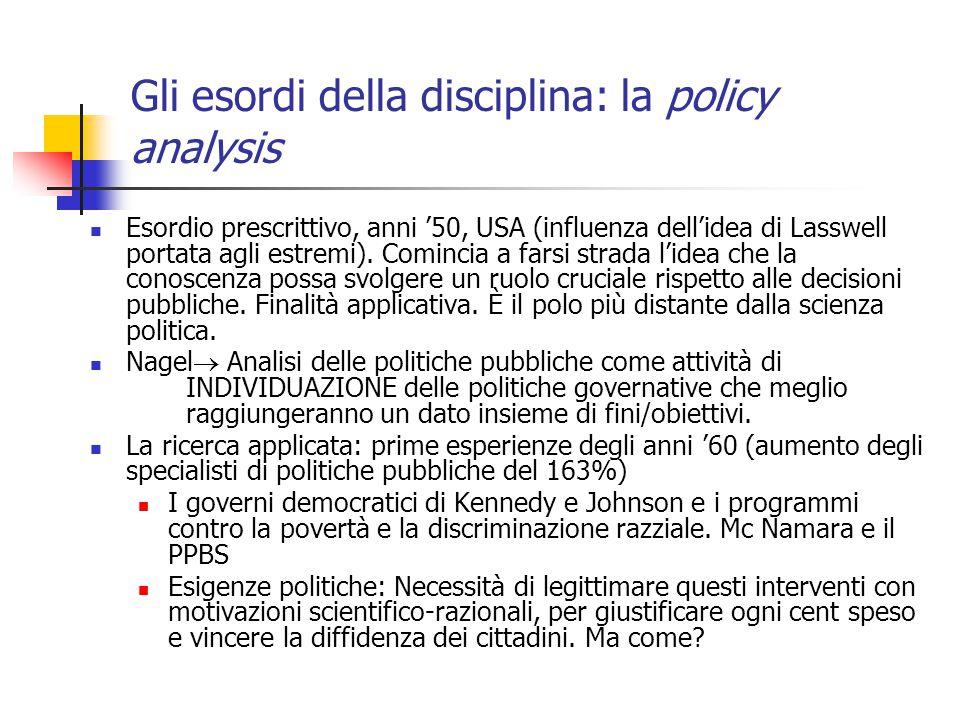 Gli esordi della disciplina: la policy analysis Esordio prescrittivo, anni '50, USA (influenza dell'idea di Lasswell portata agli estremi).