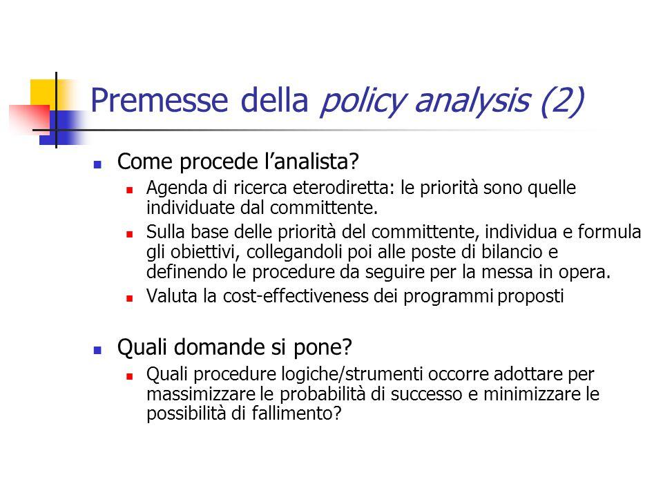 Premesse della policy analysis (2) Come procede l'analista.