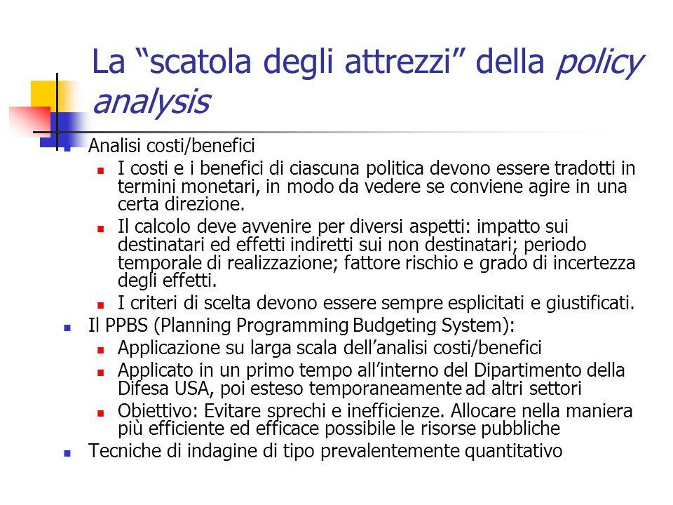 La scatola degli attrezzi della policy analysis Analisi costi/benefici I costi e i benefici di ciascuna politica devono essere tradotti in termini monetari, in modo da vedere se conviene agire in una certa direzione.