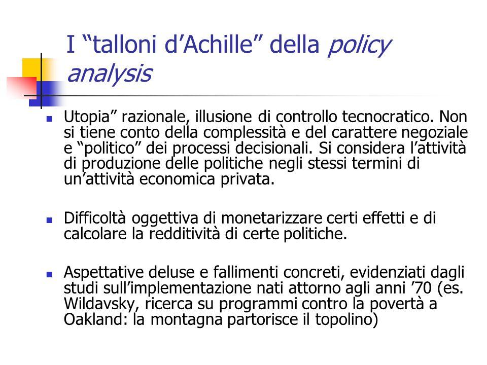 I talloni d'Achille della policy analysis Utopia razionale, illusione di controllo tecnocratico.