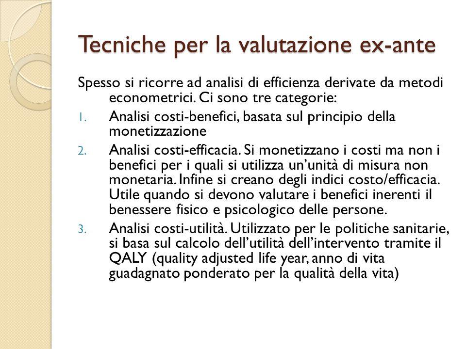 Tecniche per la valutazione ex-ante Spesso si ricorre ad analisi di efficienza derivate da metodi econometrici.