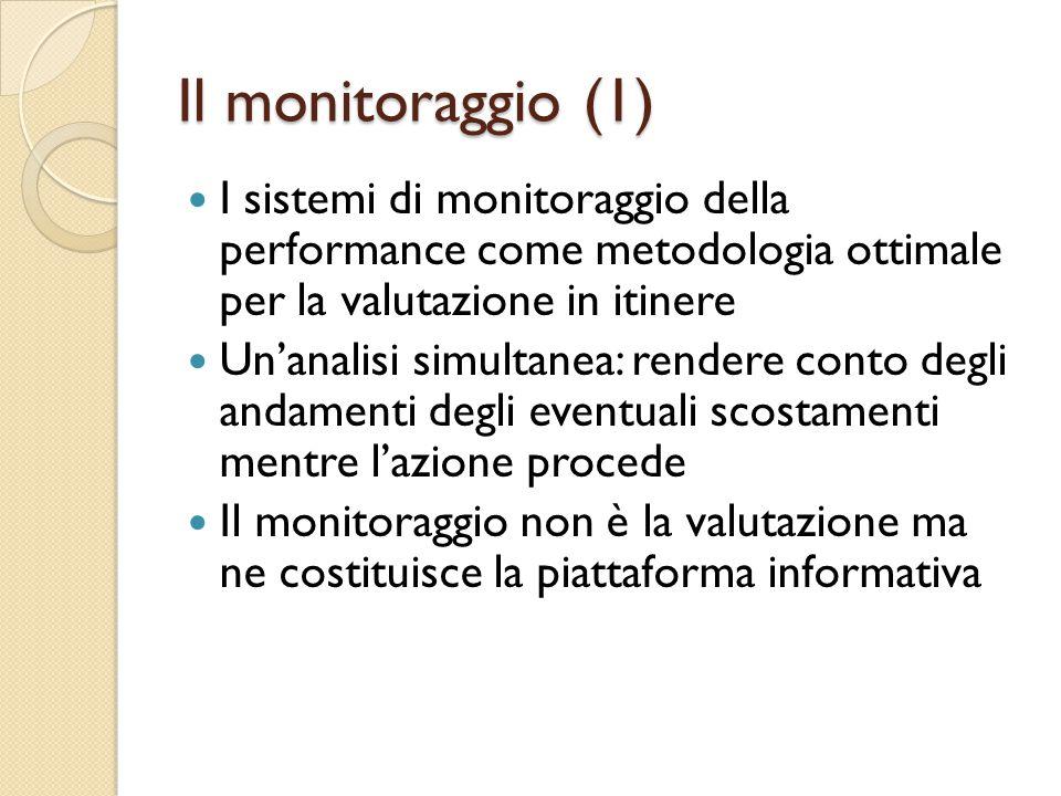 Il monitoraggio (1) I sistemi di monitoraggio della performance come metodologia ottimale per la valutazione in itinere Un'analisi simultanea: rendere conto degli andamenti degli eventuali scostamenti mentre l'azione procede Il monitoraggio non è la valutazione ma ne costituisce la piattaforma informativa