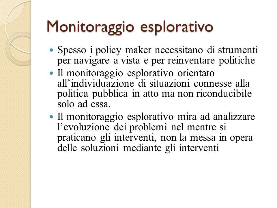 Monitoraggio esplorativo Spesso i policy maker necessitano di strumenti per navigare a vista e per reinventare politiche Il monitoraggio esplorativo orientato all'individuazione di situazioni connesse alla politica pubblica in atto ma non riconducibile solo ad essa.