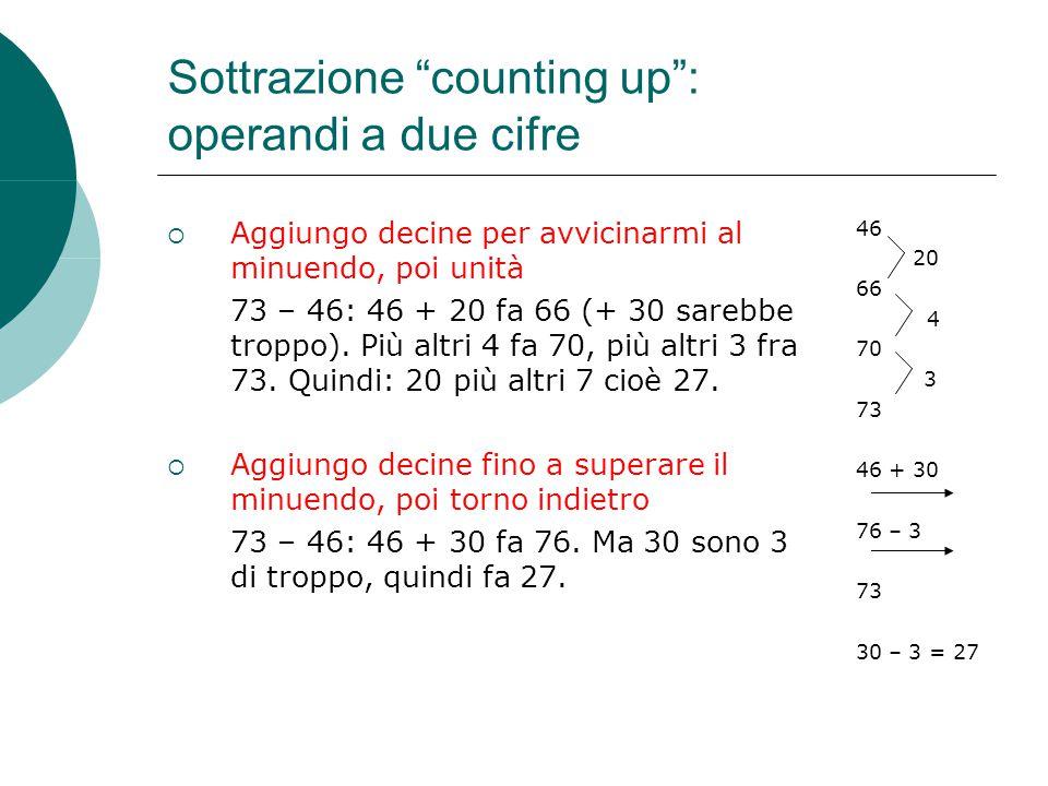 """Sottrazione """"counting up"""": operandi a due cifre  Aggiungo decine per avvicinarmi al minuendo, poi unità 73 – 46: 46 + 20 fa 66 (+ 30 sarebbe troppo)."""