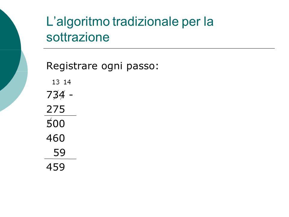 L'algoritmo tradizionale per la sottrazione Registrare ogni passo: 734 - 275 500 460 59 459 1314