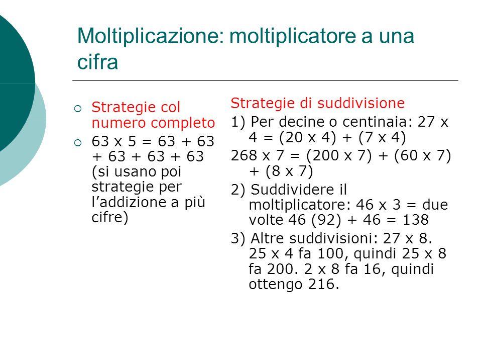 Moltiplicazione: moltiplicatore a una cifra  Strategie col numero completo  63 x 5 = 63 + 63 + 63 + 63 + 63 (si usano poi strategie per l'addizione a più cifre) Strategie di suddivisione 1) Per decine o centinaia: 27 x 4 = (20 x 4) + (7 x 4) 268 x 7 = (200 x 7) + (60 x 7) + (8 x 7) 2) Suddividere il moltiplicatore: 46 x 3 = due volte 46 (92) + 46 = 138 3) Altre suddivisioni: 27 x 8.