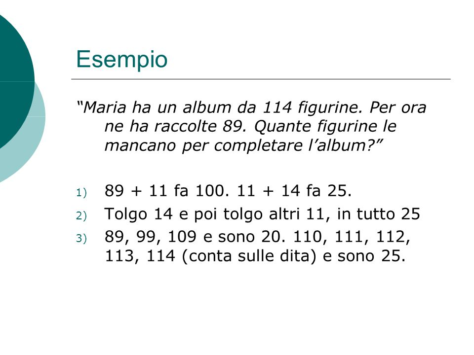 """Esempio """"Maria ha un album da 114 figurine. Per ora ne ha raccolte 89. Quante figurine le mancano per completare l'album?"""" 1) 89 + 11 fa 100. 11 + 14"""