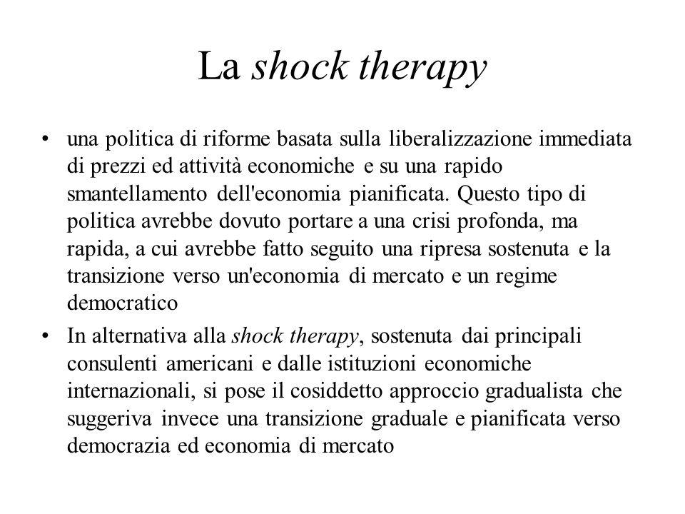 La shock therapy una politica di riforme basata sulla liberalizzazione immediata di prezzi ed attività economiche e su una rapido smantellamento dell economia pianificata.