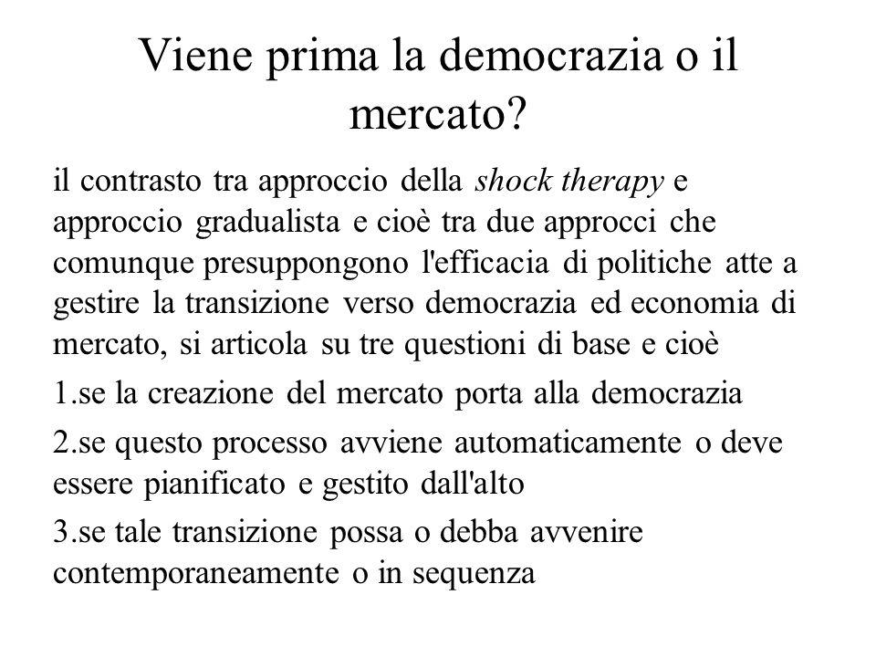 Viene prima la democrazia o il mercato.