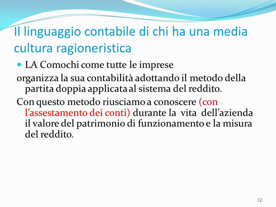 Il linguaggio contabile di chi ha una media cultura ragioneristica 12