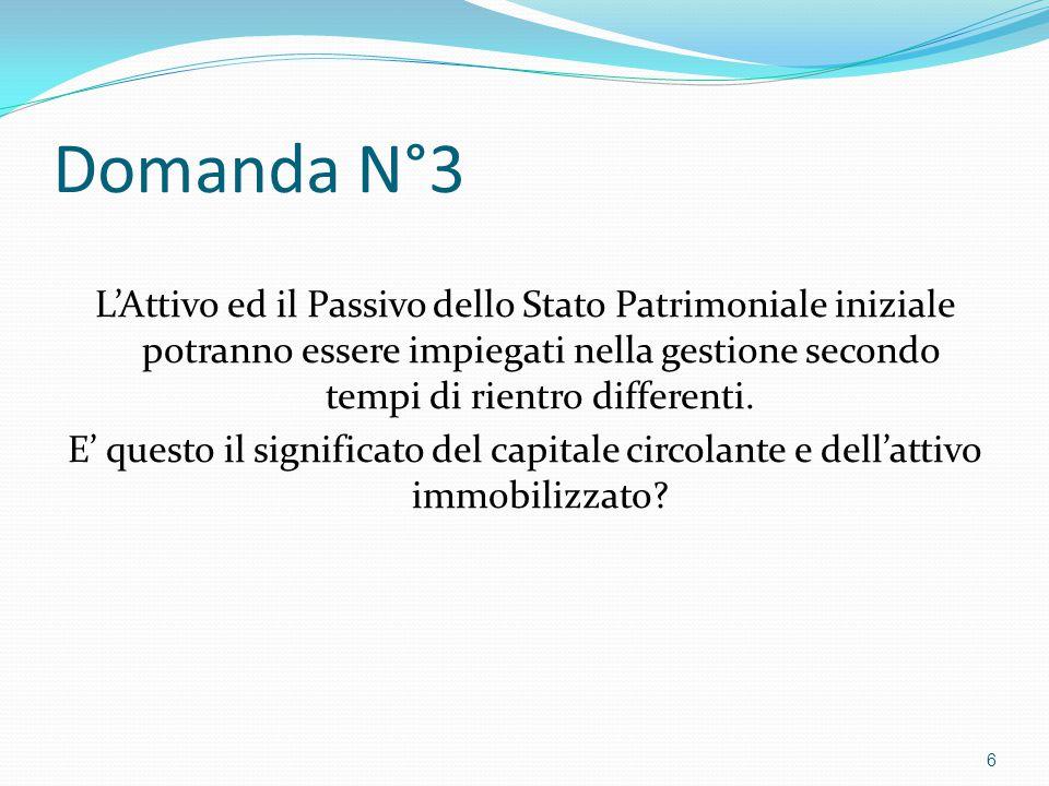 Domanda N°3 L'Attivo ed il Passivo dello Stato Patrimoniale iniziale potranno essere impiegati nella gestione secondo tempi di rientro differenti. E'