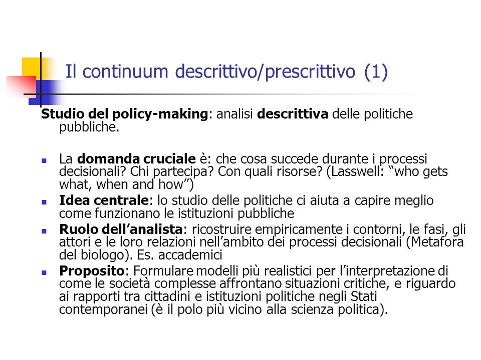 Il continuum descrittivo/prescrittivo (1) Studio del policy-making: analisi descrittiva delle politiche pubbliche.