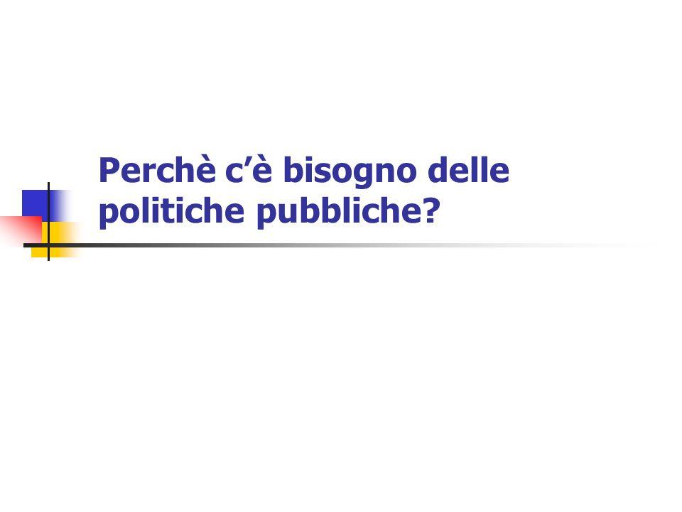 Perchè c'è bisogno delle politiche pubbliche?