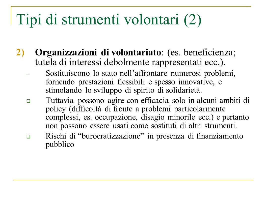 Tipi di strumenti volontari (3) 3) Mercato: è lo strumento attorno al quale vi sono maggiori conflitti politici e ideologici (es.