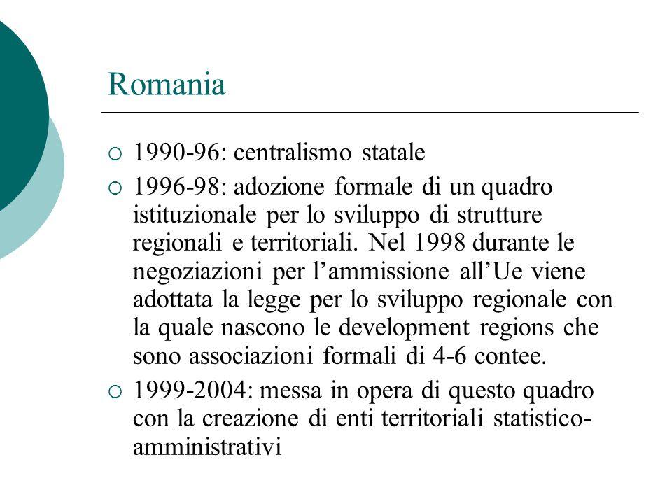 Romania  1990-96: centralismo statale  1996-98: adozione formale di un quadro istituzionale per lo sviluppo di strutture regionali e territoriali.