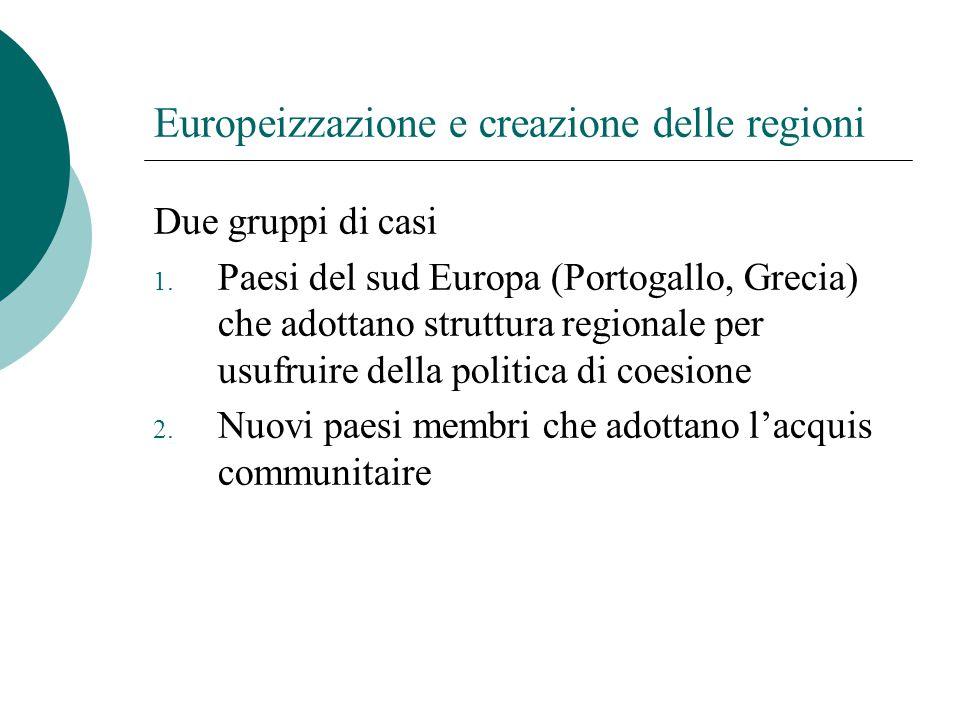 Europeizzazione e creazione delle regioni Due gruppi di casi 1. Paesi del sud Europa (Portogallo, Grecia) che adottano struttura regionale per usufrui